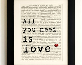FRAMED ART PRINT on old antique book page - The Beatles Quote,  All you need is love, Vintage Wall Art Print Encyclopaedia Dictionary