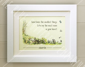 PERSONALISED Winnie the Pooh Quote Print, New Baby, Birth, Christening, Nursery Picture Gift, Pooh Bear, *UNFRAMED* Beautiful Gift