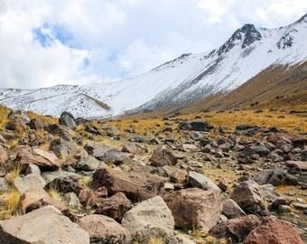 Nevado de Toluca, Landcape, Mountains, Volcano, snow, boulders