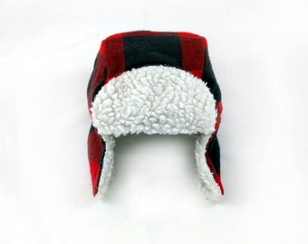 Baby & Toddler Trapper Hat - Buffalo Plaid Faux Fur Plaid Trapper Hat - Fur Bomber Hat - Aviator Hat - Lumberjack Hat - First Birthday Gift