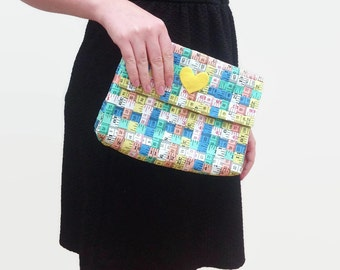 Multicoloured Tape Measure Clutch Bag with Magnetic Clasp and Felt Heart Detail