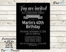 Pinstripe Birthday or Surpise Party Save the Date card or Invitation, Black & Silver, Printable Digital File, JPG or PDF, 5x7 or 4x6 inches