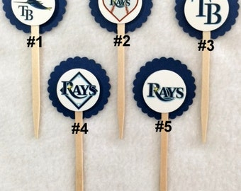 Set Of 12 Tampa Bay Rays Inspired  Cupcake Toppers (Your Choice Of Any 12)