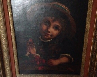 Oil on canvas attributed to E. A. Piot, in a wonderful antique frame.