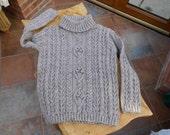 Hand Knit Aran Grey Tweed Ladies Roll  Polo Sweater  Jumper  Pullover