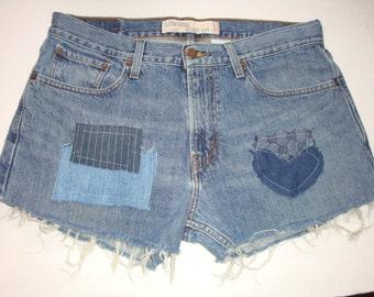 Levi'S patches reclaimed GUcci fabric patch decontructed Denim shorts women 0 2 4 6 8 10 12 14 16 18 20 22 24 plus size Grunge Boho Hippie