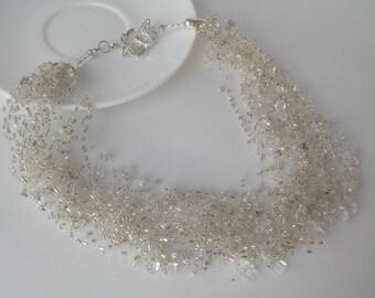 White wedding necklace, Transparent quartz Necklace, Wedding Air Necklace, Multistrand Necklace, gift for Women, Beadwork