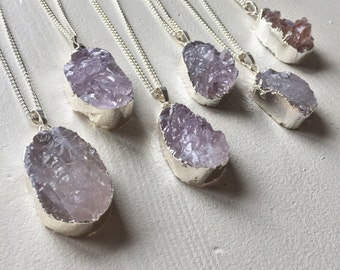 Grey druzy crystal pendant