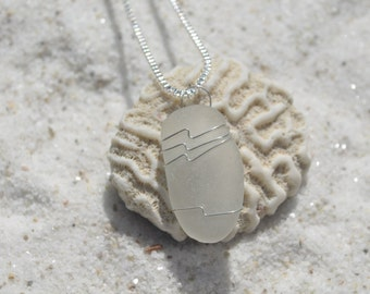 Genuine  Frosted White Sea Glass Sterling Silver Necklace