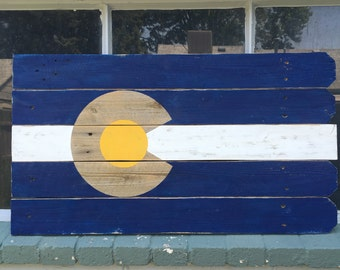 Recycled wood art - Colorado Flag