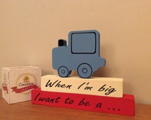 Boys wooden train christening gift, child's birthday gift, when i grow up i want to be a train driver wooden stacking block