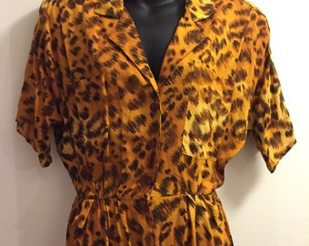 Vintage leopard print dress women's size 9 medium