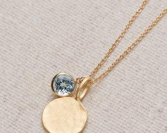 Blue Topaz Necklace/Hammered Gold disc necklace with Blue Topaz Charm/Gold Disc Necklace/ Hammered Disc Necklace/December Birthstone