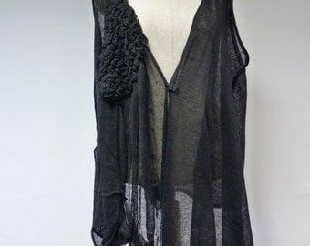 Boho irregular black linen vest, XXL size. One-of-a-kind, very artsy look.