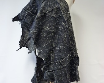 Amazing double-sided grey felted shawl. Handmade, boho style.