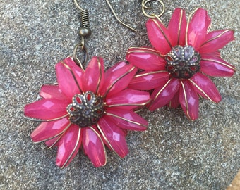 Deep Rose Red Dahlia Earrings