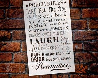 Porch Rules Version 2 - Word Art Stencil - Select Size - STCL1422 by StudioR12