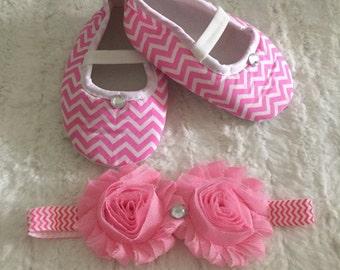 Baby girl shoes, headband, crib baby shoes