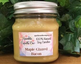 MAPLE GLAZED BACON - Soy Candle - 8 oz Mason Jar - Homemade Soy Candle - Scented Soy Candle - Natural Candle
