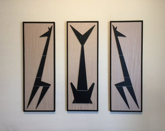 Mid Century Mad Men inspired triptych cats wall art made from hand cut wood and vintage wallpaper. A perfect addition to your pad.
