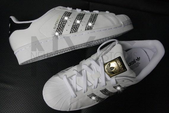 cheap Adidas Superstar White Black Swarovski Crystal by NYCustoms. Shoes  642da808f1f5