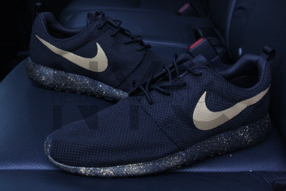 f7668f4821ab Nike Roshe One Run Black Gold Splatter Speckled by NYCustoms high-quality