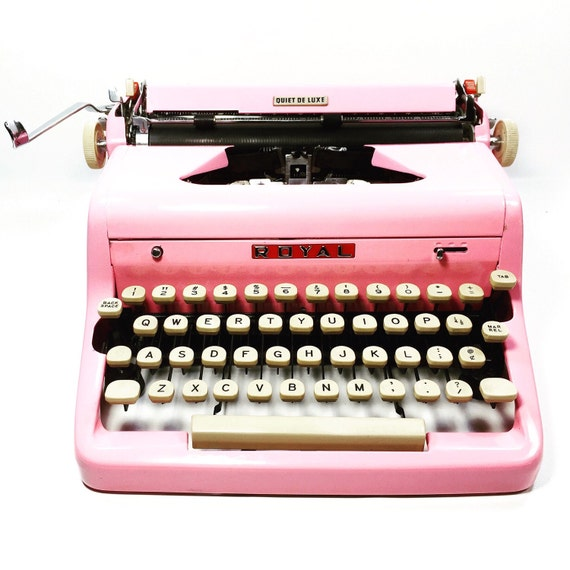 Pink 1950s Royal Quiet Deluxe Typewriter in Pink with New Typewriter Ribbon Installed
