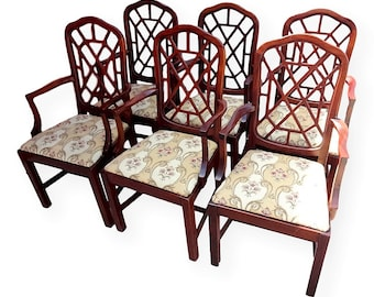 Set Of 6 Vintage Palm Beach Fretwork Armchairs Fretwork Chairs Hollywood Regency Dining Chairs Chinese Chippendale Chairs Chinoiserie Chairs