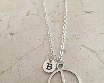 KIDS SIZE -Peace symbol initial necklace - peace charm necklace, peace symbol necklace, hippie necklace, silver peace symbol necklace