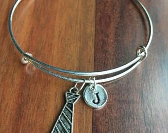 Necktie charm bracelet, Silver Necktie charm, Silver Tie charm bracelet, initial bracelet, hand stamped, personalized Jewelry