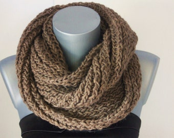 Snood brown wool - tube scarf - chunky scarf - circle scarf - maxi knitted wool snood -  infinity scarf - oversize scarf - chunky cowl