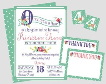 Storybook Princess Birthday Invitation. Once Upon A Time Princess Party Invitation. Digital, Printable Invitation Set. Thank You Card, More!