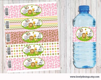 Jungle Safari Girls Water Bottle Label, Jungle party supplies, Jungle Safari Birthday, Jungle Label, Decor Instant Download