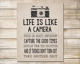 PRINTABLE Camera Art Life Is Like A Camera Wall Art Camera Wall Decor Vintage Camera Art Beige Wall Decor