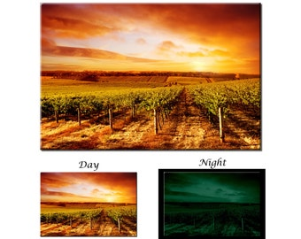 Glow in the Dark Canvas Wall Art - Vineyard Sunset Winery Canvas Art Print - Ready to Hang