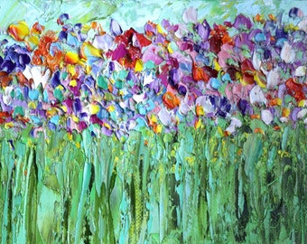 Palette Knife Impasto Original Oil Painting Colorful Flower Landscape Abstract Painting Bright Little Painting Wal Art Ginger Red Blue Green