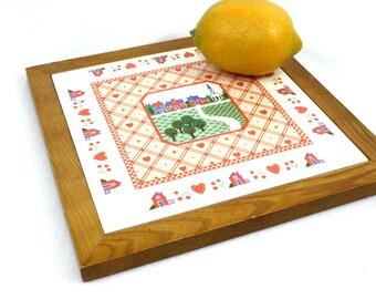 Vintage ceramic trivet red tile trivet ceramic hot plate country kitchen decor