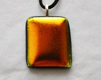 ON SALE - Handmade Pendant - Fused Dichroic Glass Jewelry - Glass Necklace