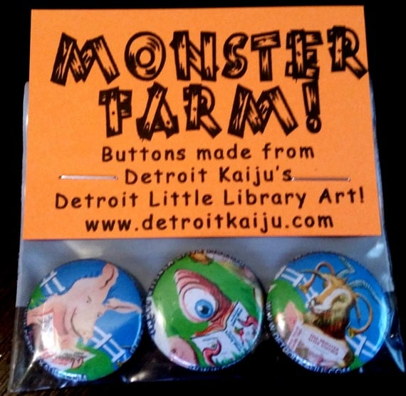 "MONSTER FARM Pete Coe's Detroit Kaiju 1"" Pinback Button Set of 3 Monsters: Goat! Worm! Pig!"