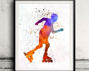 Man roller skater inline 03 - Fine Art Print Glicee Poster Home Watercolor sports Gift Room Children's Illustration Wall - SKU 2250