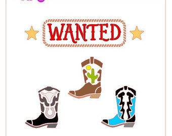 Western Wanted Cowboy Boots Stencil