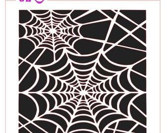 Halloween Spider Web Background Stencil