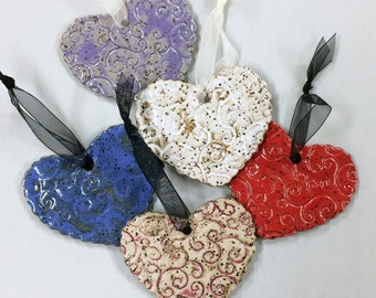 Ceramic Heart Ornament, Whirl Pattern