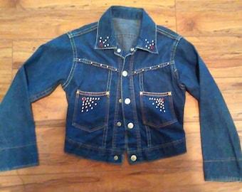 Studded Vintage Jean  Jacket 1960 Size XS 1950 1960's