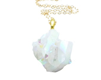 Crystal Cluster Necklace, Angel Aura Quartz Necklace, Quartz Crystal Pendant