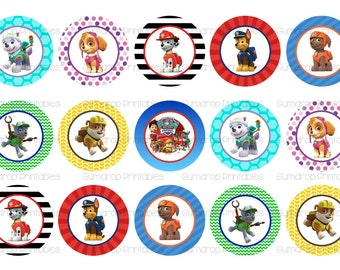 Paw Patrol Bottle Cap Images ~ INSTANT Download ~ Buy 3 Get 1 Free ~ Birthday ~ Friends ~ Scrapbooking ~ One Inch Circles ~ PP-282