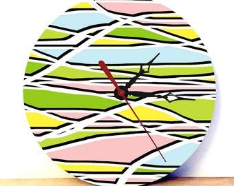 Retro Wall Clock - Pattern Print Clock - Spring Decor - Home Decor - Analog Clock - Wall Clock - Wall Art - Digital Art Clock