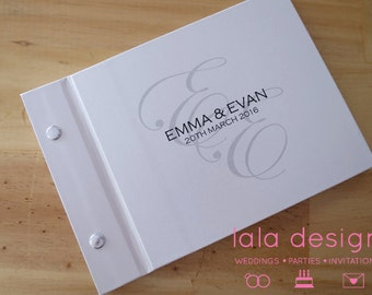 """Personalised Guestbook A5 """"Monogram"""" for Weddings, Engagements and Parties"""