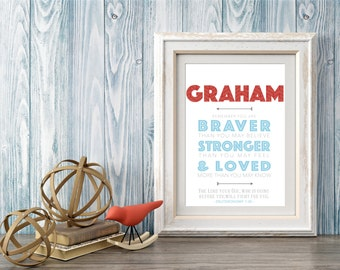 Braver - Stronger - Loved Personalized Print