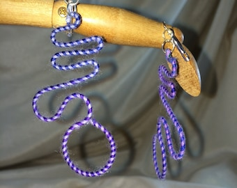 Violet & Lilac Wriggle Merino Wool and Glass Earrings